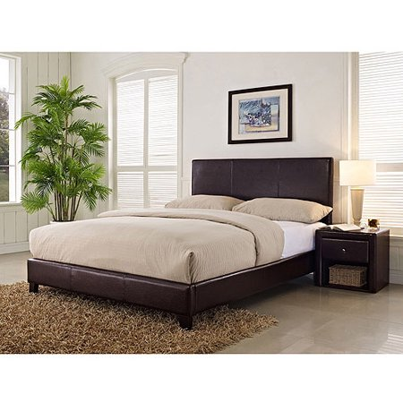 stratus queen upholstered bed brown faux leather - Queen Upholstered Bed Frame