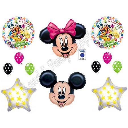 Mickey & Minnie Mouse Clubhouse Happy Birthday Party Balloons Decorations Supplies - Minnie And Mickey Party Supplies