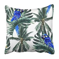 CMFUN Green Parrots Exotic Birds Palm Trees Jungle Leaves Leaf Beautiful Floral Blue Pillowcase Cushion Cover 18x18 inch