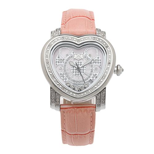 Luxurman Pink Women's 1/3ct Diamond Heart Watch