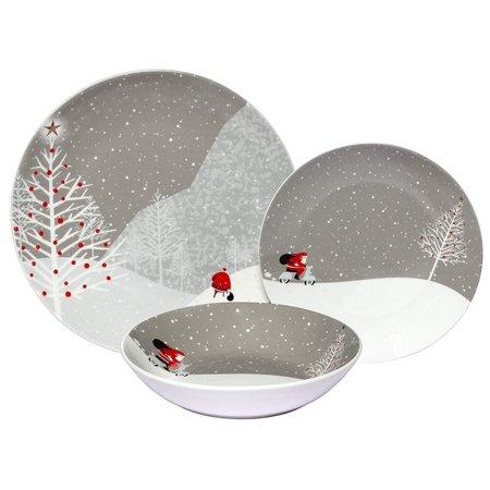Melange 18-Piece Melamine Dinnerware Set (Santa Comes Home) | Shatter-Proof and Chip-Resistant Melamine Plates and Bowls | | Dinner Plate, Salad Plate & Soup Bowl (6 Each) ()