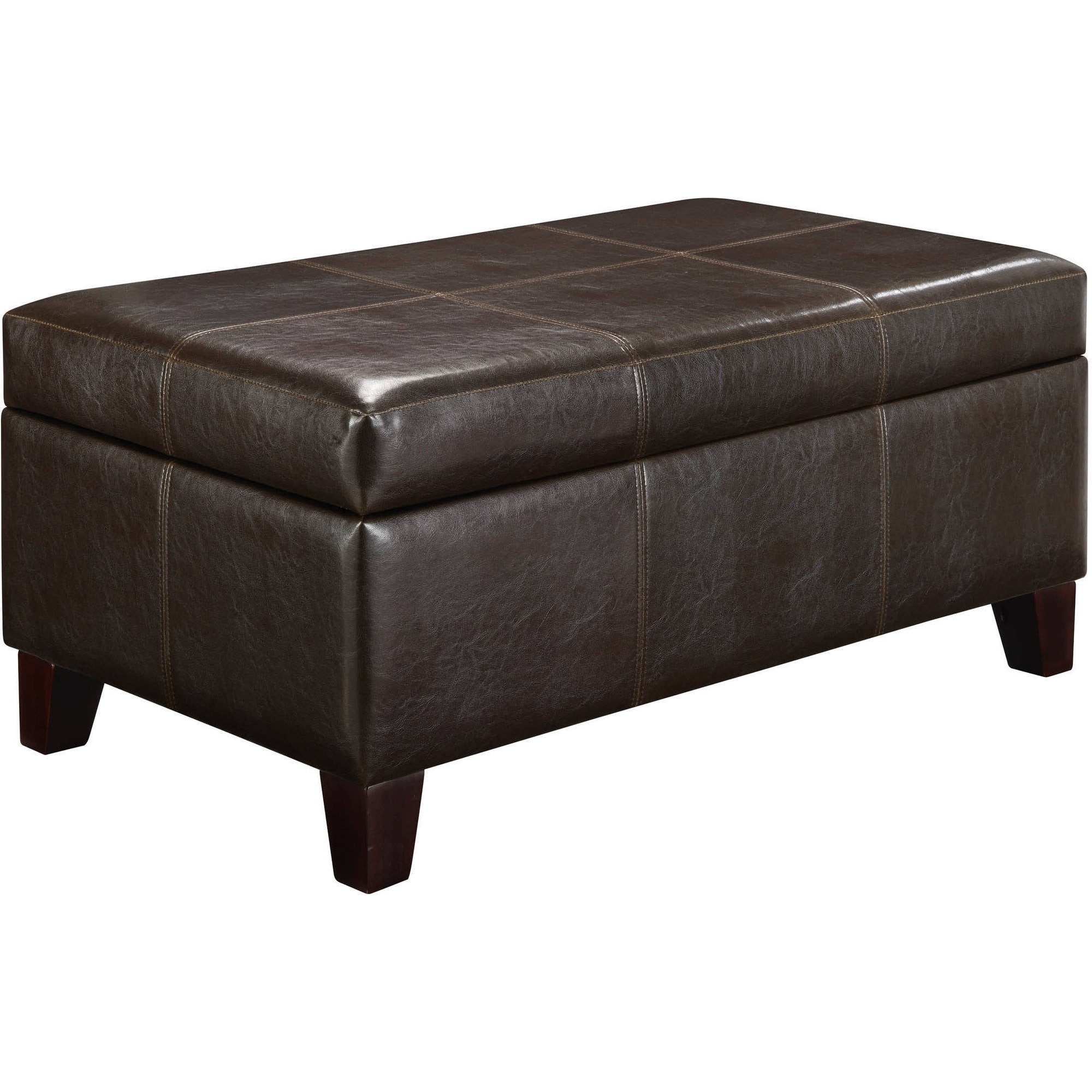 Small Leather Look Vinyl Ottoman Walmart Com