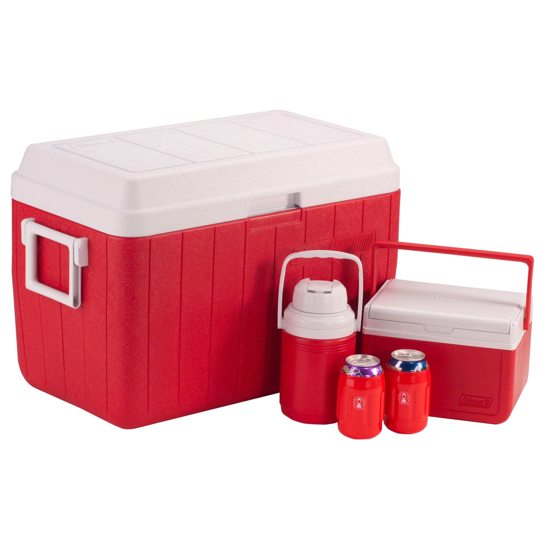 Coleman Red Cooler Combo, with 54-Quart Cooler, 5-Quart Cooler, and 1/3-Gallon Jug