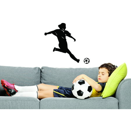 Custom Wall Decal Kicking Soccer Ball Sports Girl Boy Vinyl Wall Sticker 20x40