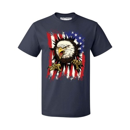 P&B Eagle Ripping Through USA Flag 4th of July Men's T-shirt, M, (4th Of July T Shirts To Make)