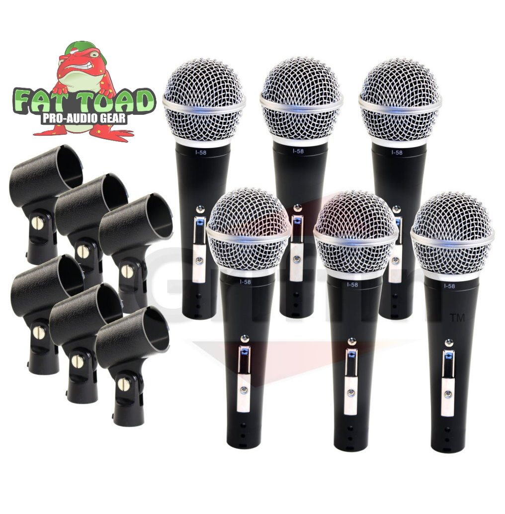 Professional Cardioid Dynamic Microphones & Clips (6 Pack) by Fat Toad Vocal Handheld, Unidirectional Mic Singing Microphone Designed for Music Stage Performances & Studio Recording or PA DJ Karaoke