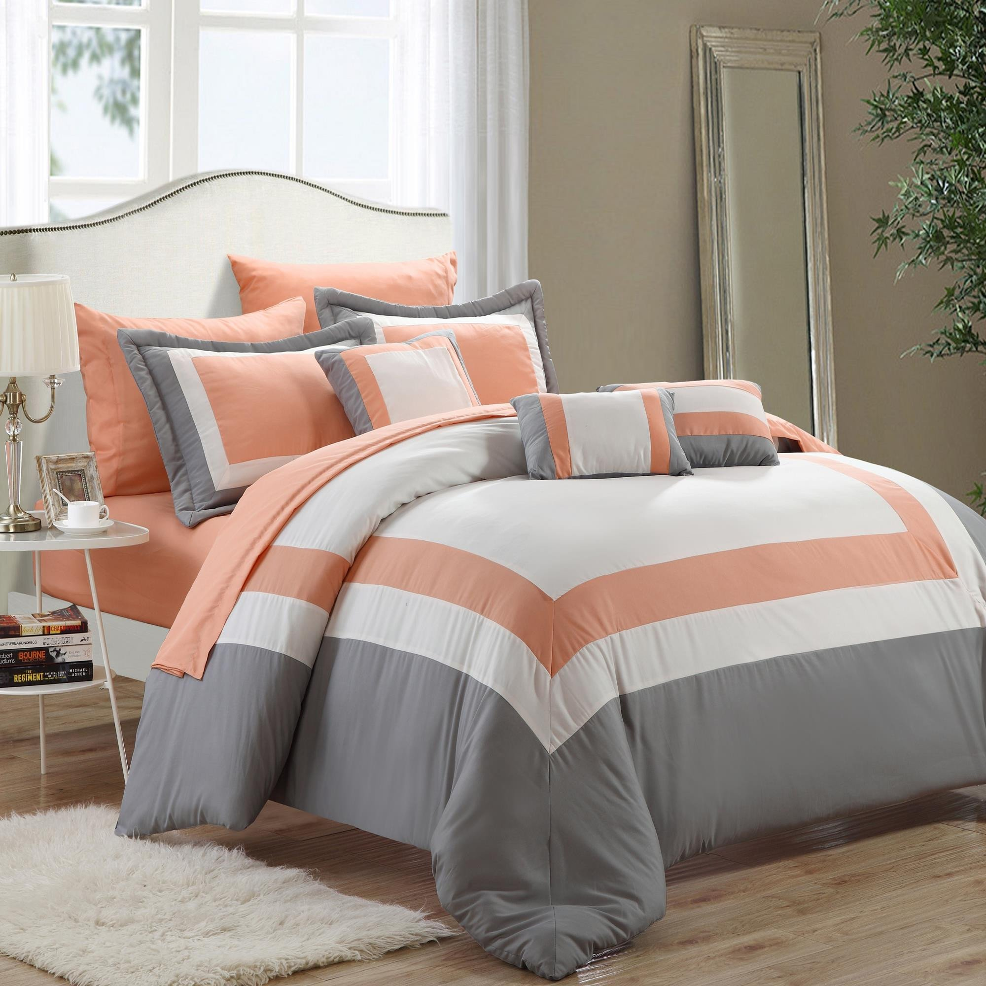 Duke Peach White Grey 10 Piece Comforter Bed In A Bag Set Walmart Com Walmart Com