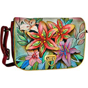 Anuschka Flap Over Accordian Luscious Lilies Leather Women's Handbag