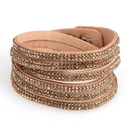 Women's Rhinestone Studded Wide Cuff Shinning Bracelet (Trillion White Bracelet)