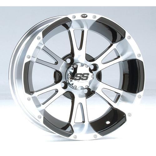 ITP SS112 Aluminum Wheel Front 12x7 Machined W/Black Fits 93-99 Yamaha YFM400FW Kodiak 4x4