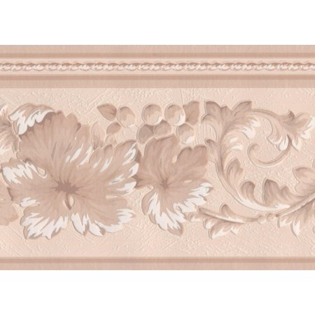 Beige White Lace Floral Wallpaper Border Retro Design, Roll 15' x 7''