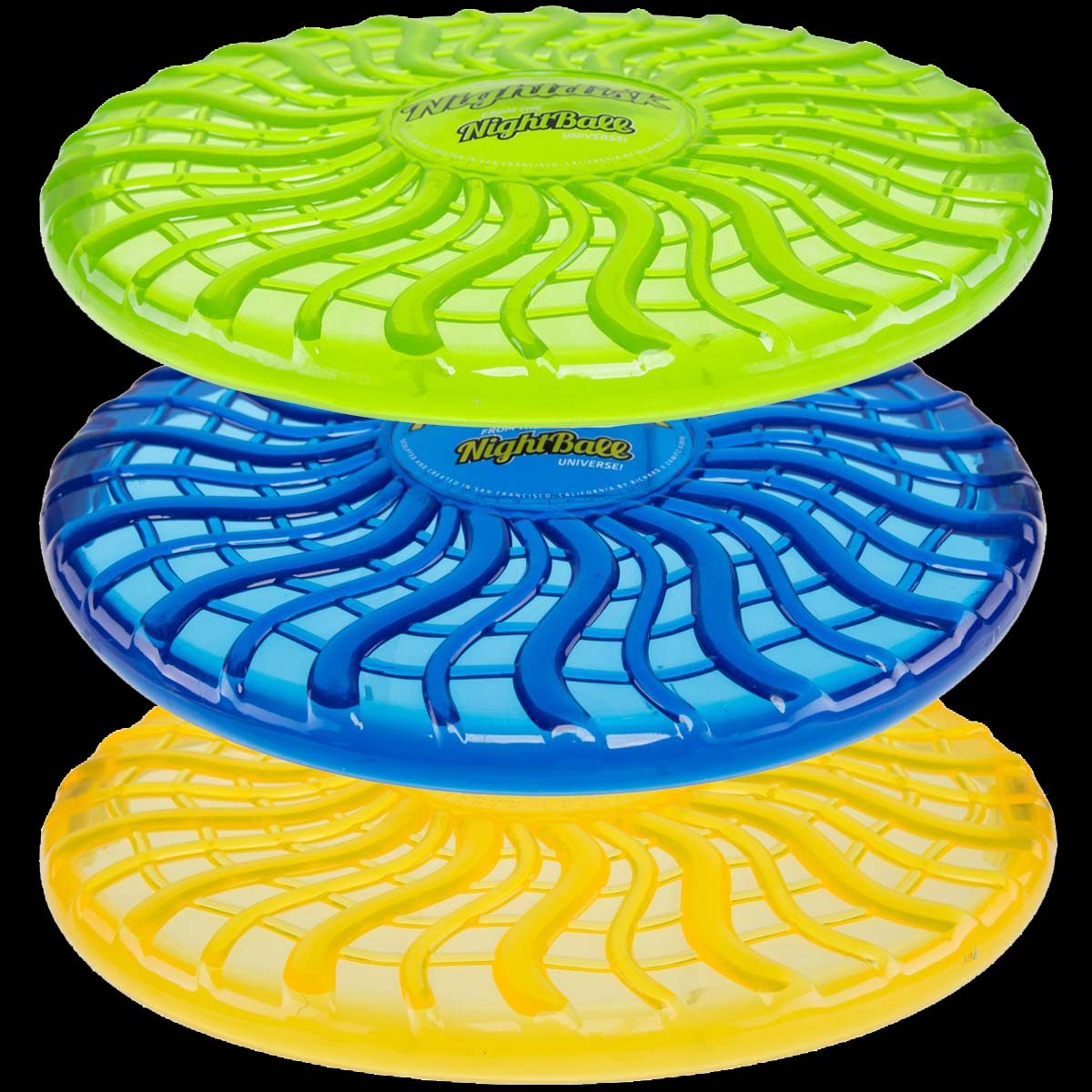 Tangle (Set of 3) Nightdisk LED Light Up Frisbee Discs Glow Yellow Blue & Green Soft For Kids and Dogs