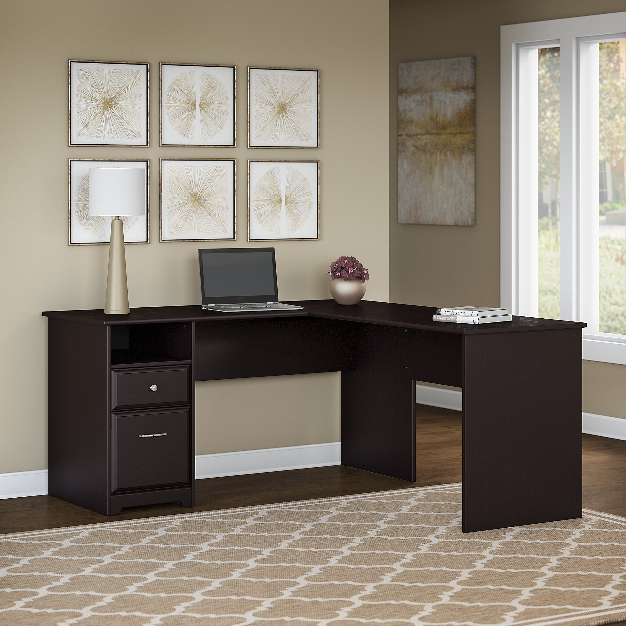 Bon Bush Furniture Cabot 60W L Shaped Computer Desk With Drawers In Espresso  Oak   Walmart.com