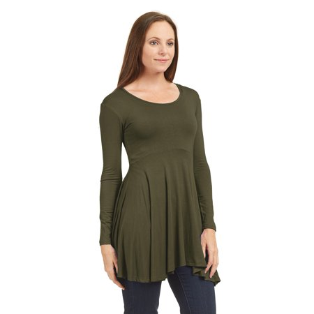 Womens WT1469 Long Sleeve Curved Empire Line Draped Tunic Top L Olive