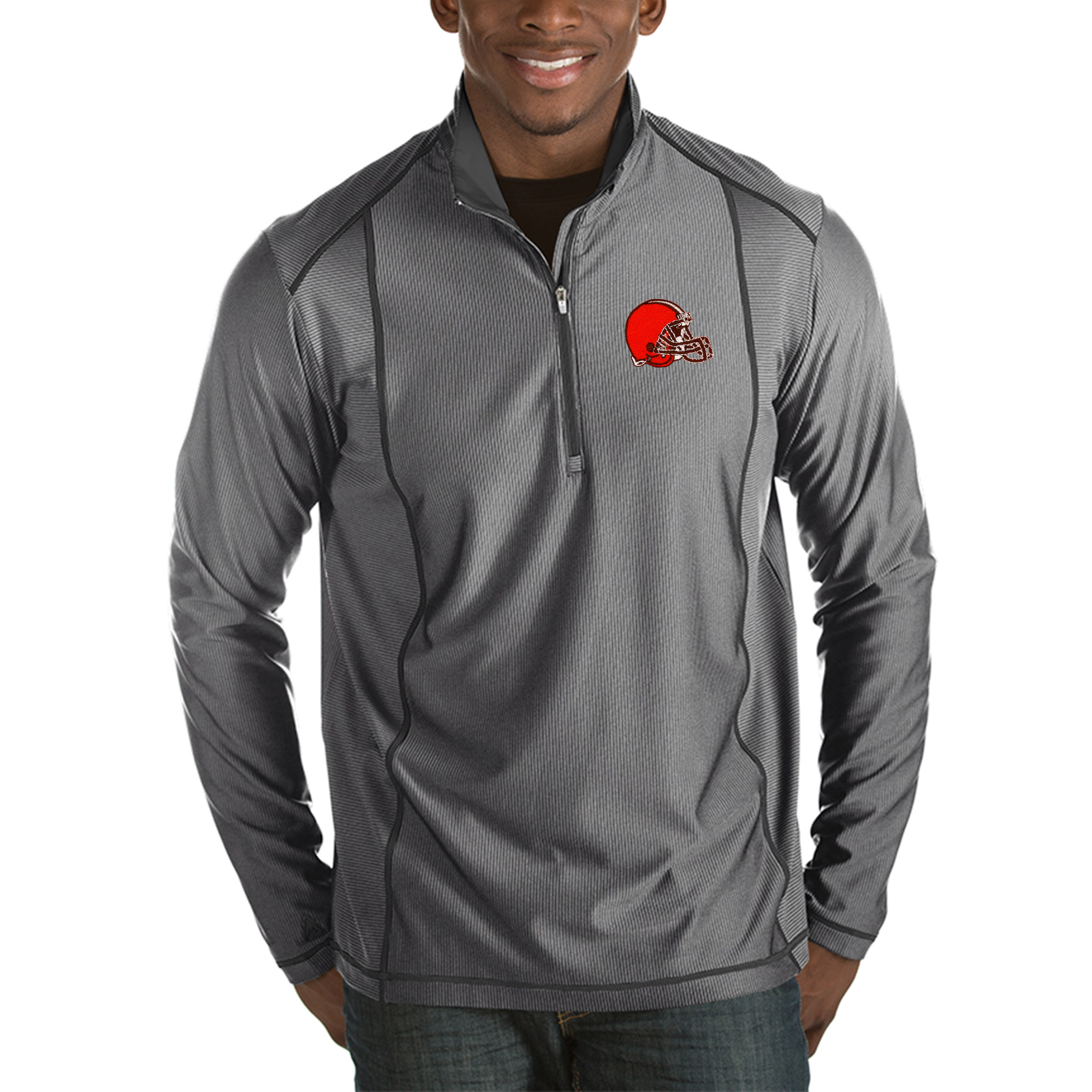 Cleveland Browns Antigua Tempo Half-Zip Pullover Jacket - Heather Charcoal