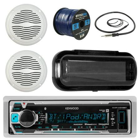 Kenwood KMR-M318BT In-Dash Marine Boat Audio Bluetooth USB Receiver Bundle Combo W/ Waterproof Shield Cover + 2x 5