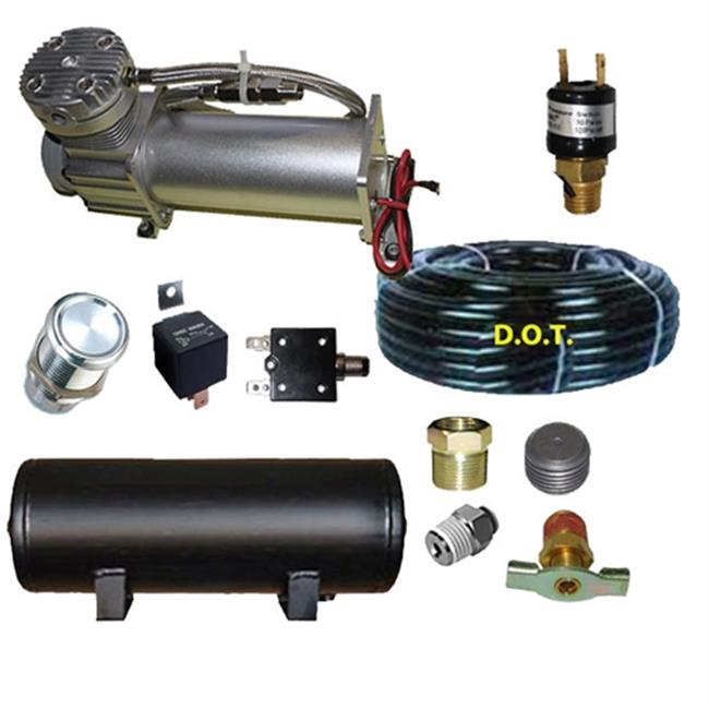Airbagit COM-DC480XX 0.33 HP Compressor 15 ft. Airhose 3 gal. Tank Pres - Switch, Circuit Breakr 1.25 in.