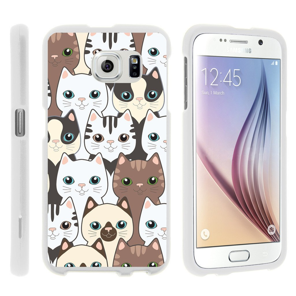 Samsung Galaxy S6 Edge G925, [SNAP SHELL][White] Hard White Plastic Case with Non Slip Matte Coating with Custom Designs - Cute Kittens