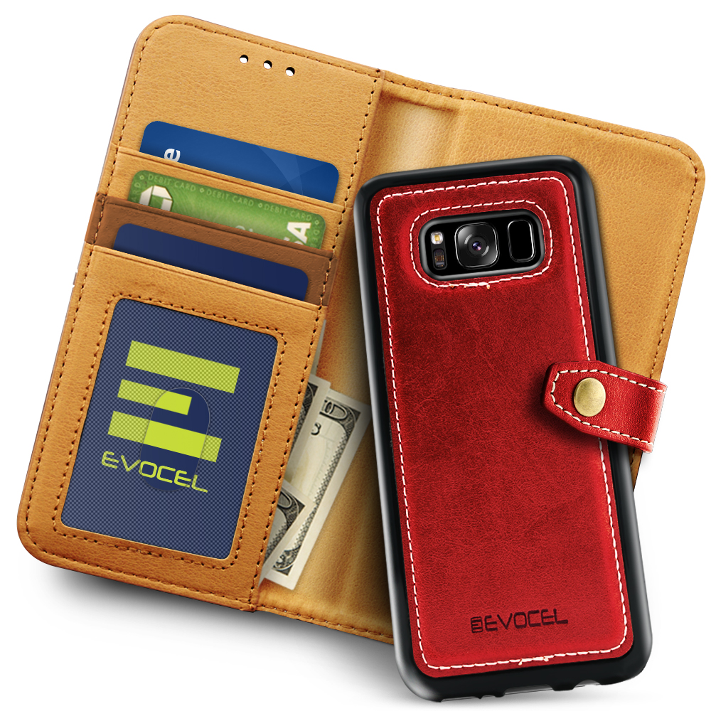 Galaxy S8 Plus Case, Evocel [Detachable Wallet Case] [Slim Profile] [3 Card Slots] [Side Pocket] [Premium Faux Leather] Renaissance Series Phone Case for Galaxy S8+ (SM-G955) (2017 Release), Black