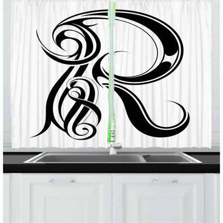 Letter R Curtains 2 Panels Set, Gothic Medieval Inspired Alphabet Font Capital R Calligraphic Design Illustration, Window Drapes for Living Room Bedroom, 55W X 39L Inches, Black White, by Ambesonne - Medieval 2 Letter