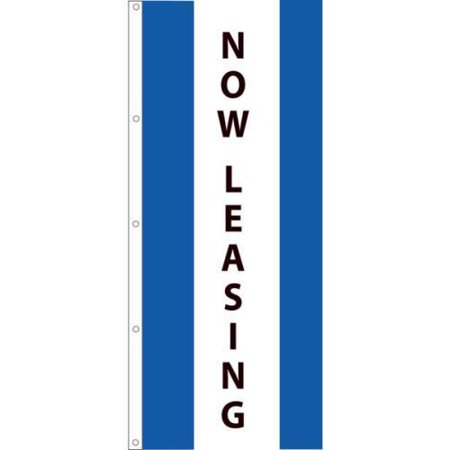 Vertical Now Leasing Striped Flag  Royal White Royal  3 X 8