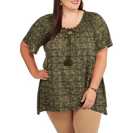 Image of Faded Glory Women's Plus Sharkbite Peasant Knit Top