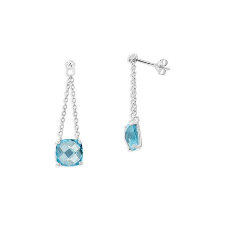 Sterling Silver Rhodium Plated Sky Blue Topaz and White Topaz Drop Post Earrings