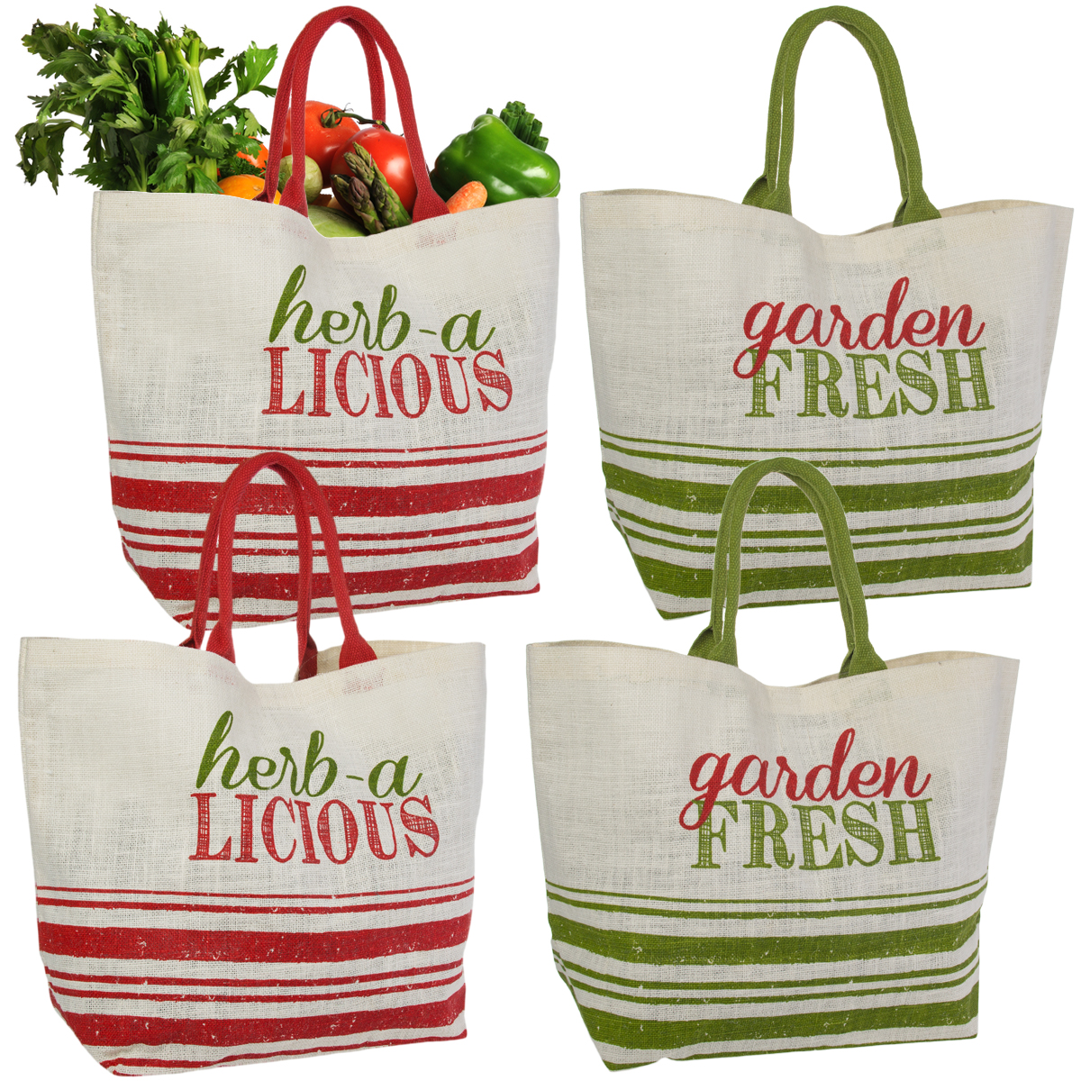 Set of 4 Reusable Shopping Bags Large Burlap Grocery Farmers Market Tote With Handles