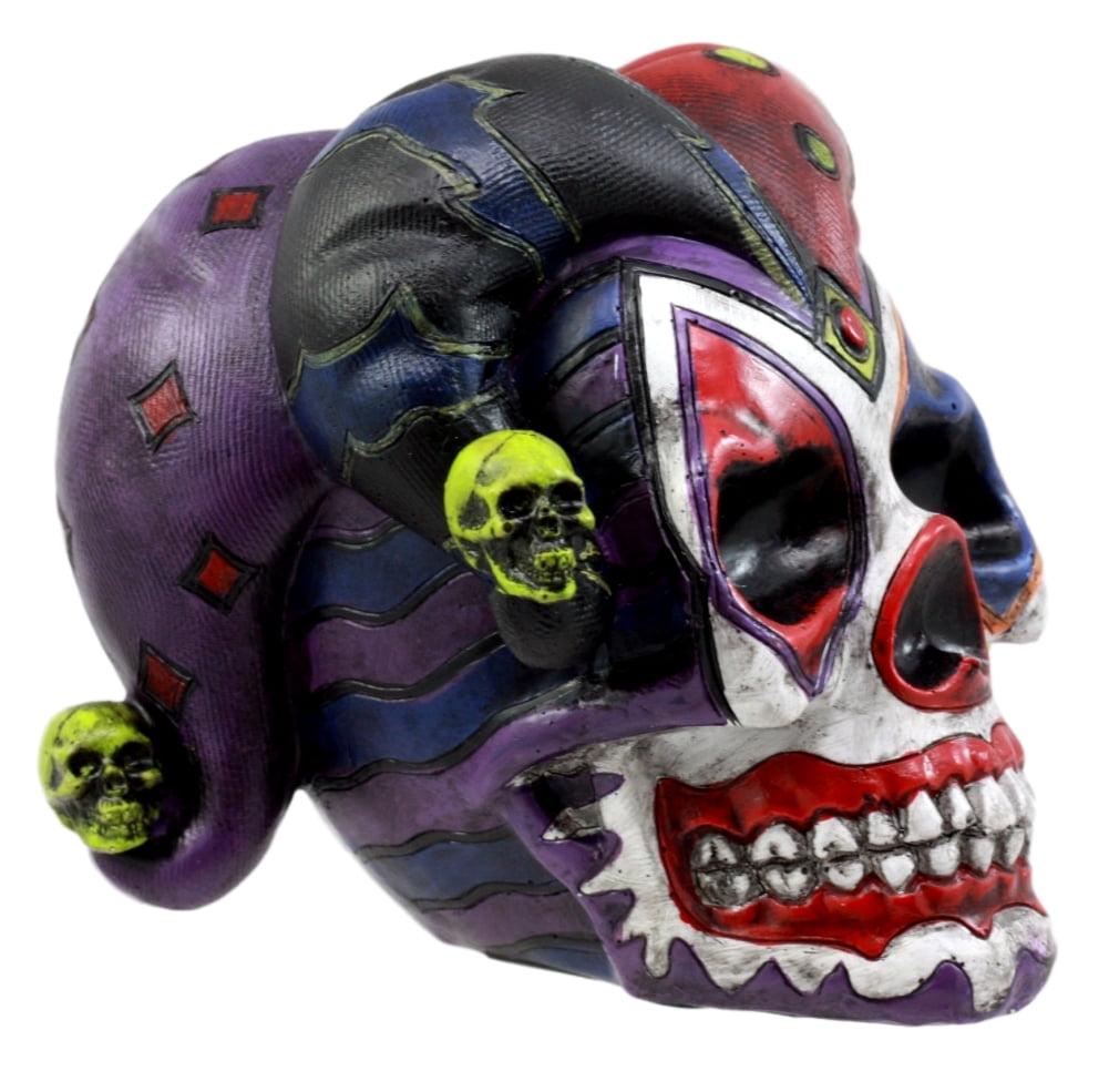 Ebros Gift Jester Clown Harlequin Joker Skull Figurine 4 H Cool Collectible Sculpture Skeleton