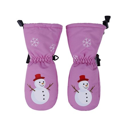 Girls Snowman Print Waterproof Thinsulate Lined Ski Gloves, Pink, -