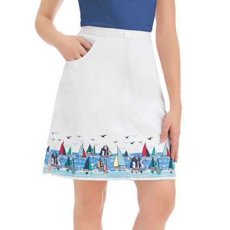 Women's Cotton White Skort Shorts with Sailboat Border Print Nautical Apparel, X-Large, White (Print Border Skort)