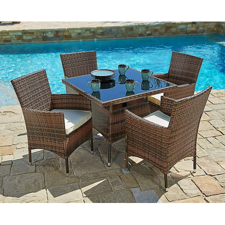 SUNCROWN Outdoor Dining Set Brown Wicker Furniture 5-Piece Square Dining Table and Chairs w/Washable Cushions | Patio, Backyard, Porch, Garden, Poolside | Tempered Glass Tabletop | Modern Design (Outdoor Table Chairs)