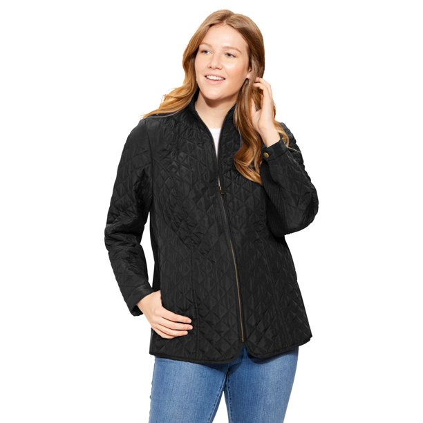 ladies black quilted jacket : Woman Within Women's Plus Size Zip-Front Quilted Jacket Jacket