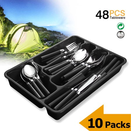 - Silverware Set Moxinox 10 Packs 48 Piece Flatware Tableware Plastic Handle Steak Knife Spoons Forks Knives Box Fork with Cutlery Tray (Black)
