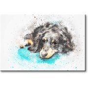 Black Dog Picture on Stretched Canvas, Wall Art Décor, Ready to Hang