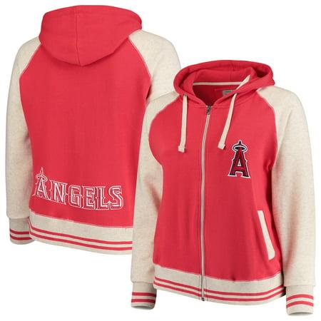 Angel Rhinestud Hoodie (Los Angeles Angels Soft as a Grape Women's Plus Size Varsity Raglan Full-Zip Hoodie - Red/Cream )