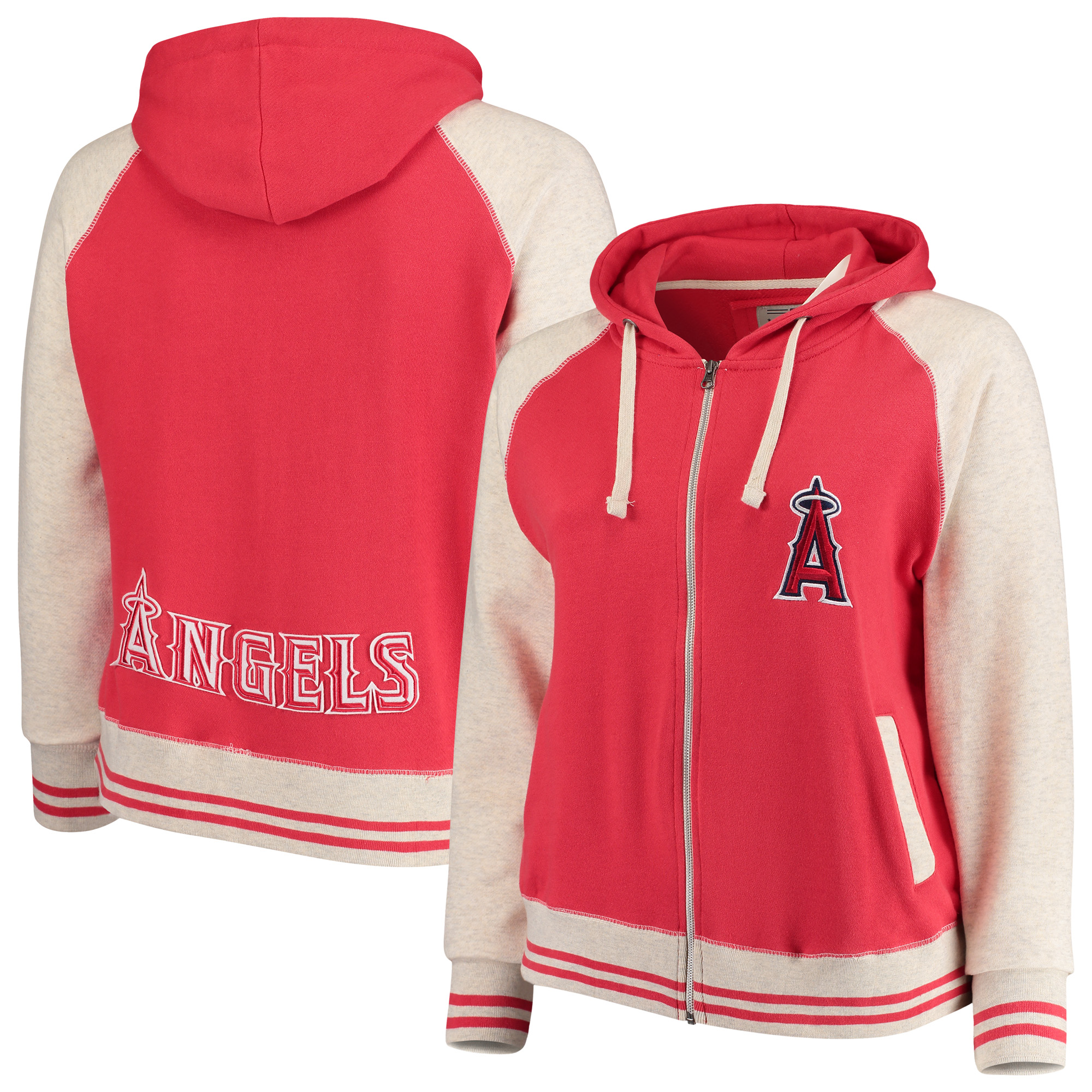 Los Angeles Angels Soft as a Grape Women's Plus Size Varsity Raglan Full-Zip Hoodie - Red/Cream