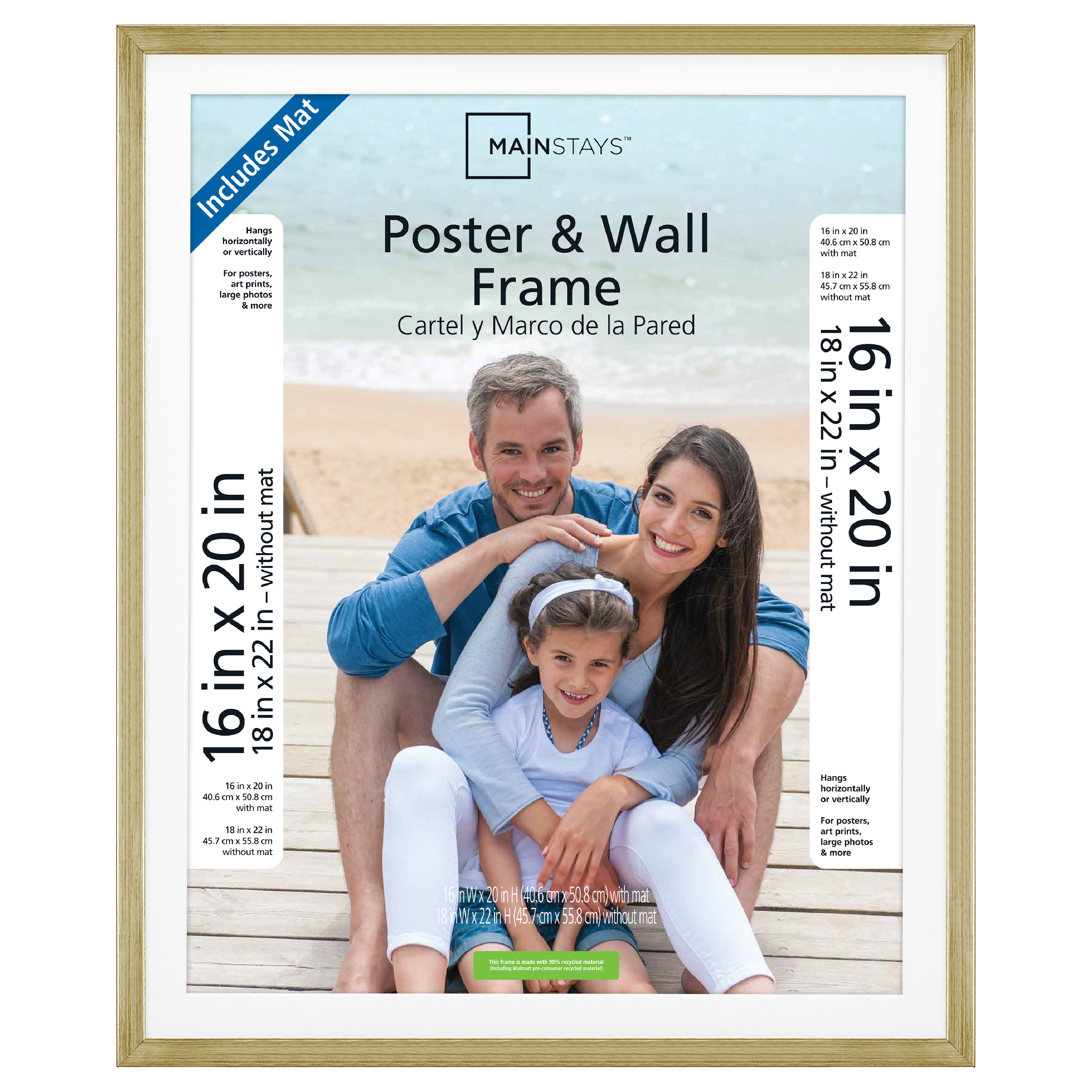 "Mainstays 18x22"" Matted to 16x20"" Brass Metallic Poster and Picture Frame"