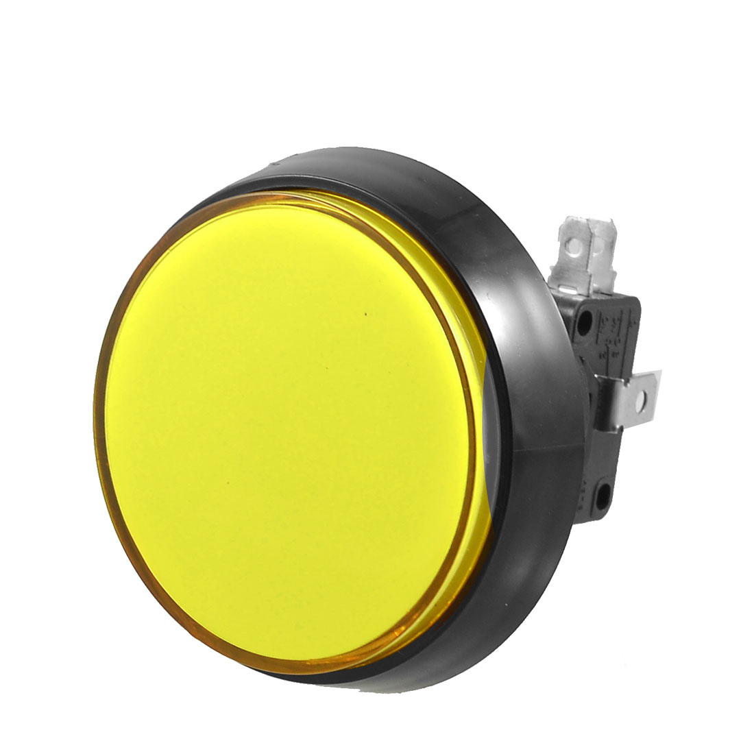Arcade Game AC 250V 15A 52mm Dia Yellow Light Push Button + 1NC 1NO Micro Switch