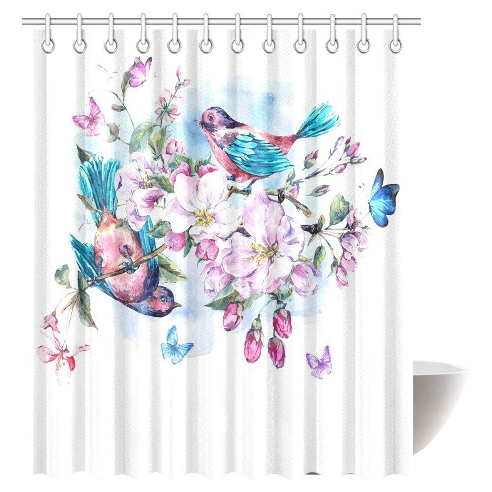 GCKG Watercolor Shower Curtain Vintage Garden Pink Flowers Blooming Branches Of Peach Pear Apple Trees Birds And Butterflies Bathroom Set With Hooks