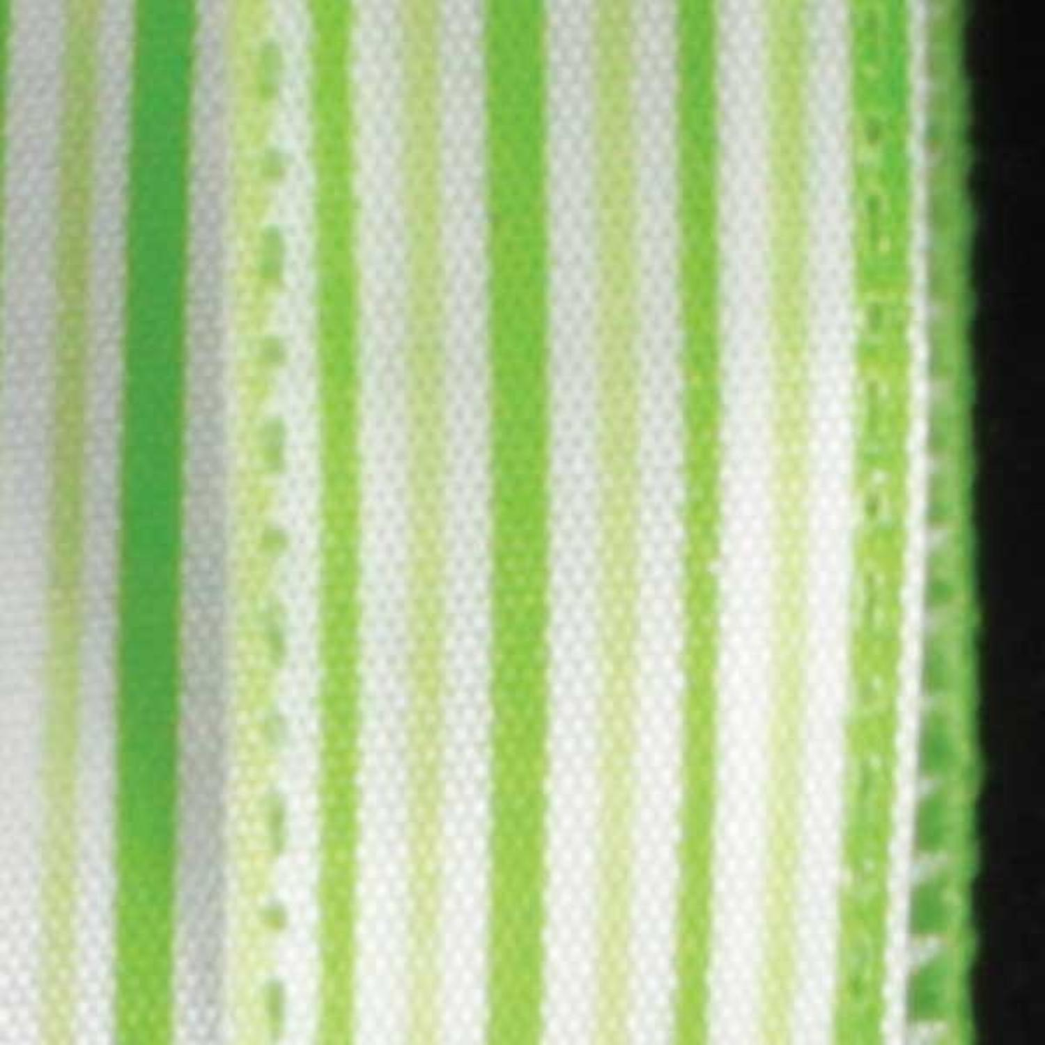 "Ribs of Green and White Thin Striped Wired Craft Ribbon 5/8"" x 60 Yards"