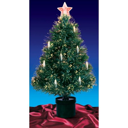 4' Pre-Lit Fiber Optic Artificial Christmas Tree with Candles - Multi -