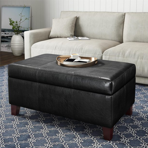 Dorel Living Rectangular Upholstered Storage Ottoman, Black
