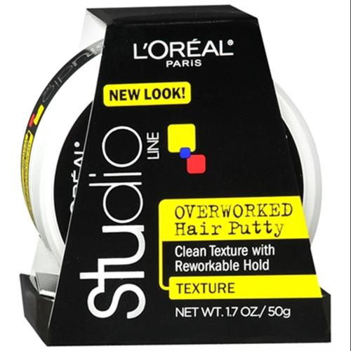 L'Oreal Studio Line Overworked Hair Putty 1.70 oz (Pack of 4)