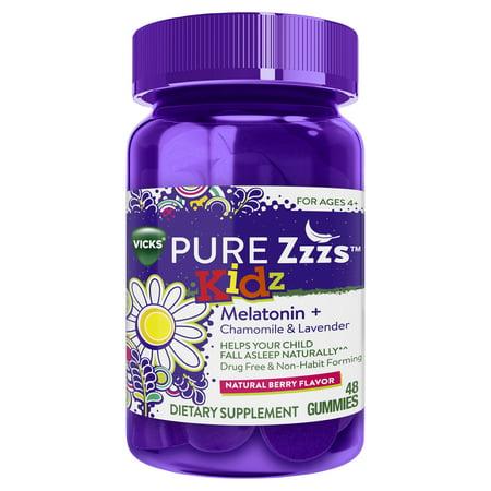 Vicks PURE Zzzs Kidz Melatonin Lavender & Chamomile Sleep Aid Gummies for Children, Natural Berry Flavor, 0.5mg per gummy, 48