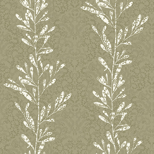 Blue Mountain Fern Shadow Wallcovering, Neutral and White