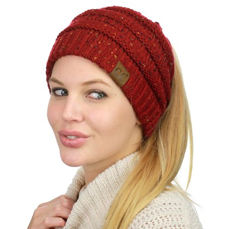 C.C BeanieTail Soft Stretch Cable Knit Messy High Bun Ponytail Beanie Hat, Confetti Cardinal