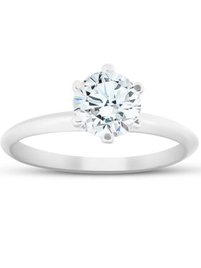 G-H SI 1 Carat Round Solitaire  Diamond Engagement Ring 14K White Gold