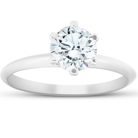 G-H SI 1 Carat Round Solitaire  Diamond Engagement Ring 14K White