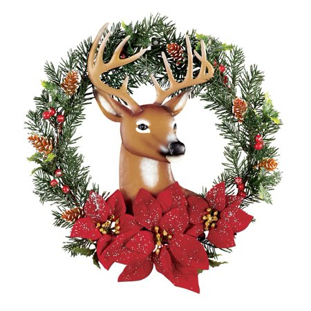 Christmas Wreath with Metal Deer & Poinsettias